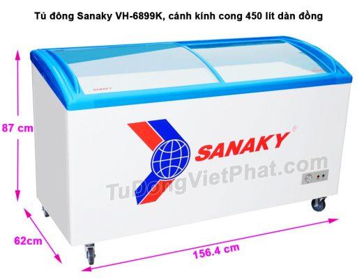 Kích thước tủ đông Sanaky VH-6899K