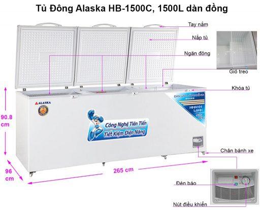 Kích thước tủ đông Alaska HB-1500C