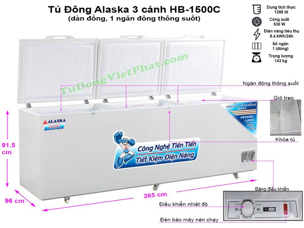 Kích thước tủ đông Alaska HB-1500C dàn đồng
