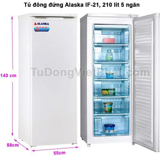 Kích thước tủ đông đứng Alaska IF-21
