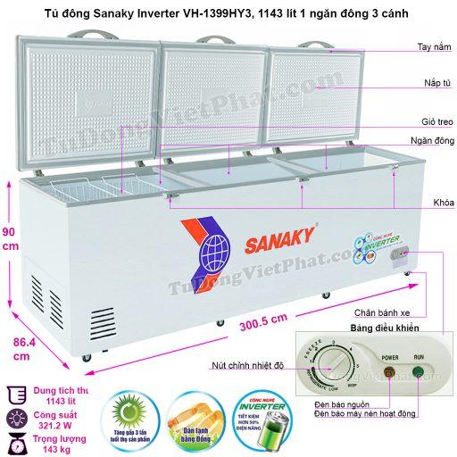 Kích thước tủ đông Sanaky VH-1399HY3, 1143L INVERTER 3 cánh