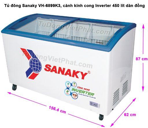 Kích thước tủ đông Sanaky VH-6899K3