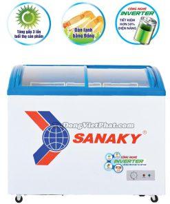 Tủ đông Sanaky VH-5899K3, mặt kính cong 400 lít Inverter