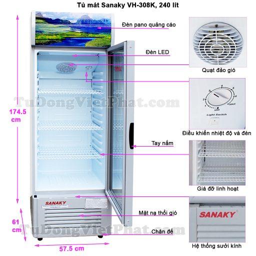 Kích thức tủ mát Sanaky VH-308K