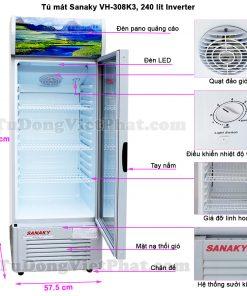 Kích thước tủ mát Sanaky VH-308K3