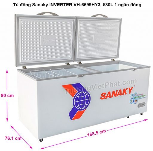 Kích thước tủ đông Sanaky VH-6699HY3
