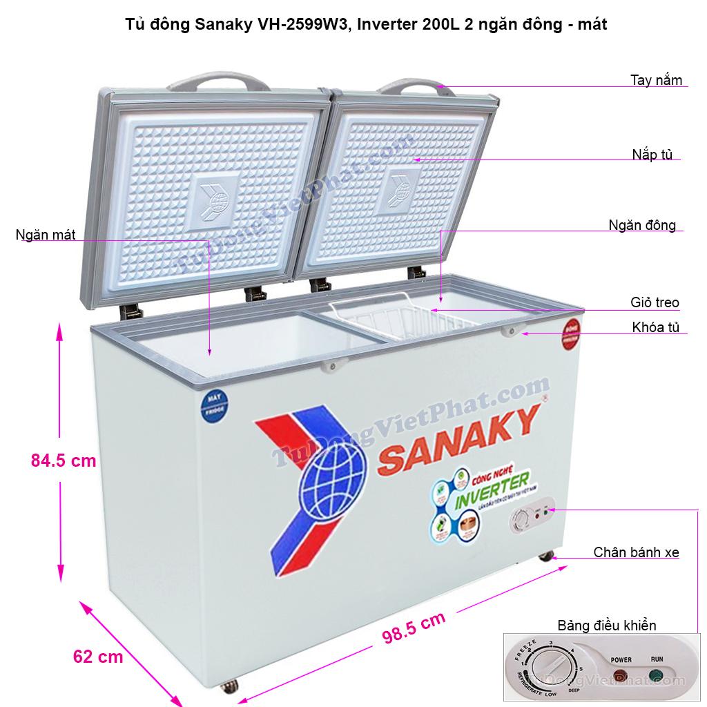 Kích thước tủ đông Sanaky VH-2599W3