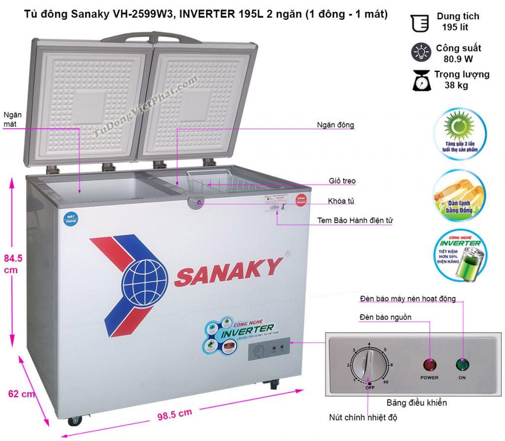Kích thước tủ đông mini Sanaky VH-2599W3 Inverter 2 ngăn 195L