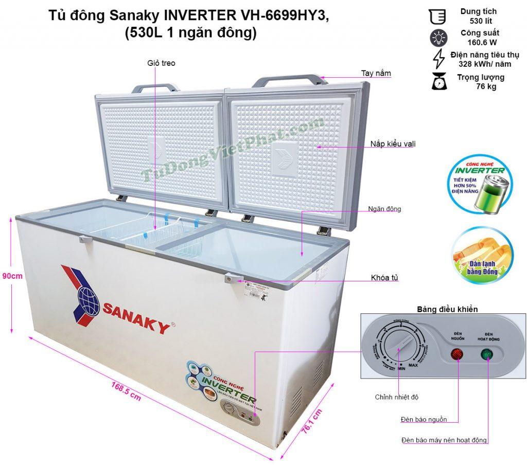 Kích thước tủ đông Sanaky VH-6699HY3 Inverter 530 lít 1 ngăn đông