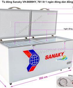 Kích thước tủ đông Sanaky VH-8699HY, 761L 1 ngăn đông