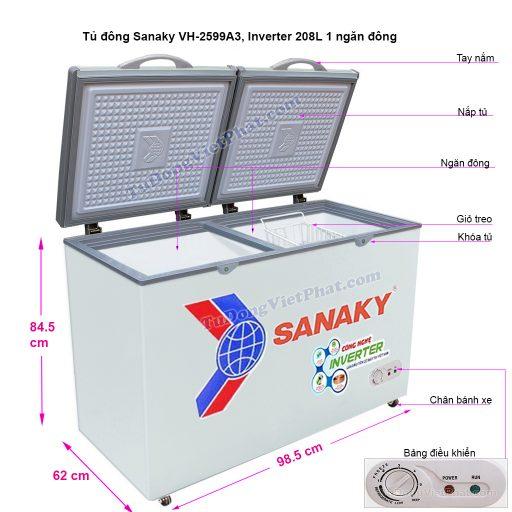 Kích thước tủ đông mini Sanaky VH-2599A3, Inverter