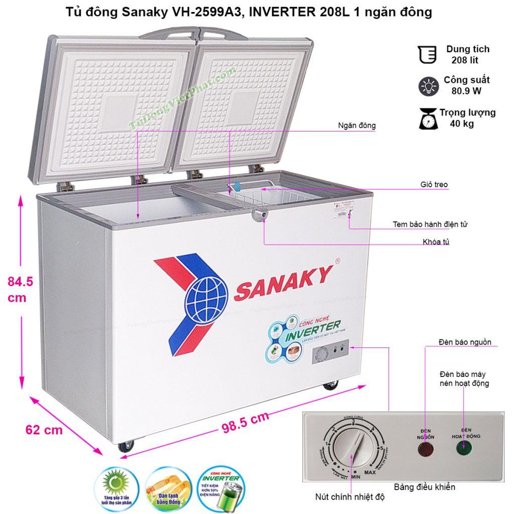 Kích thước tủ đông mini Sanaky VH-2599A3, Inverter 1 ngăn 208L