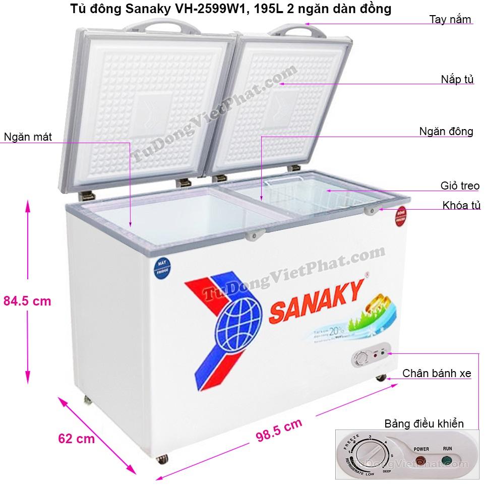 Kích thước tủ đông Sanaky VH-2599W1, mini 2 ngăn