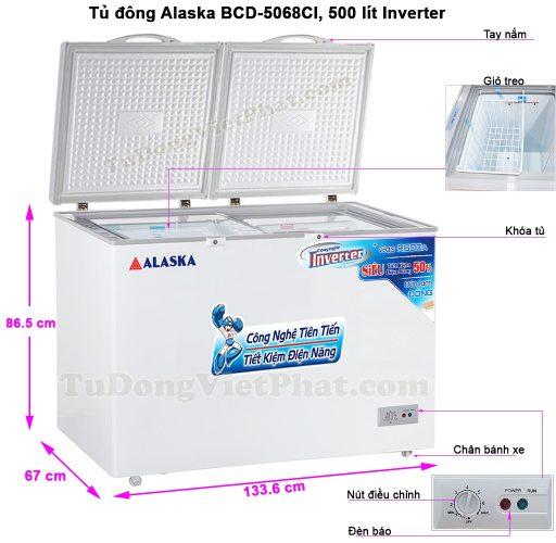 Kích thước tủ đông Alaska BCD-5068CI