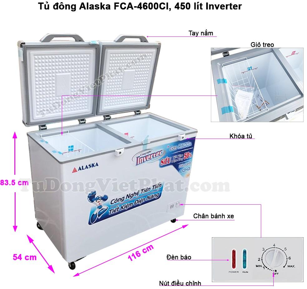 Kích thước tủ đông Alaska FCA-4600CI