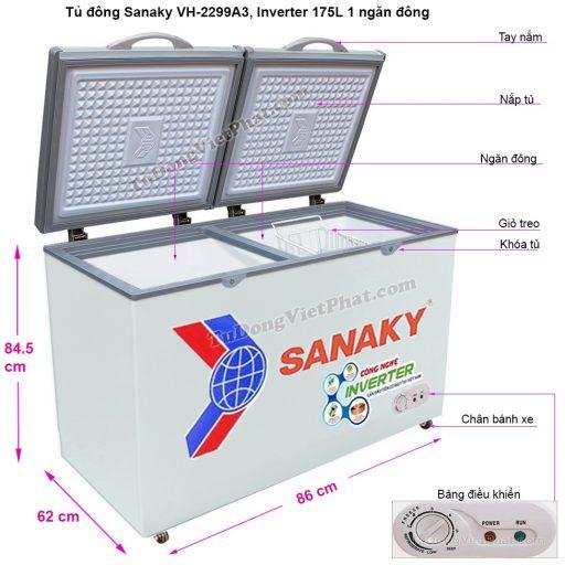 Kích thước tủ đông mini Sanaky VH-2299A3, Inverter