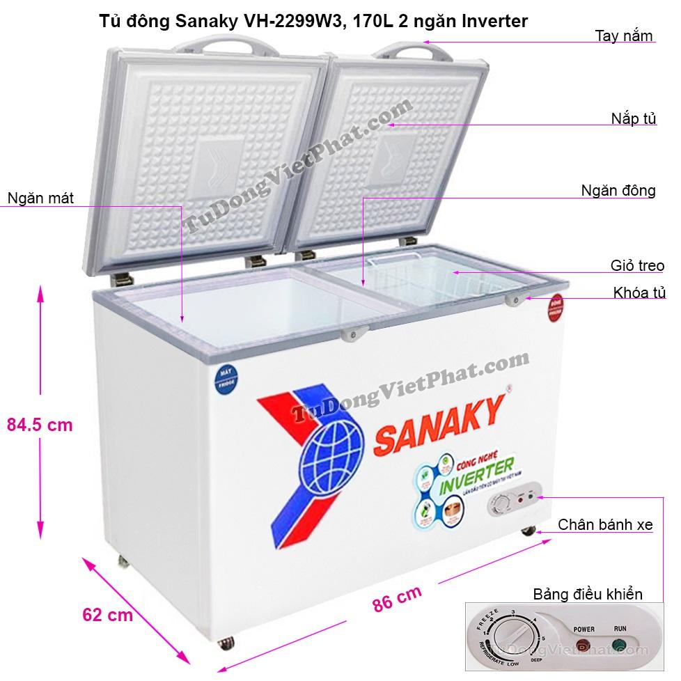 Kích thước tủ đông mini Sanaky VH-2299W3 Inverter