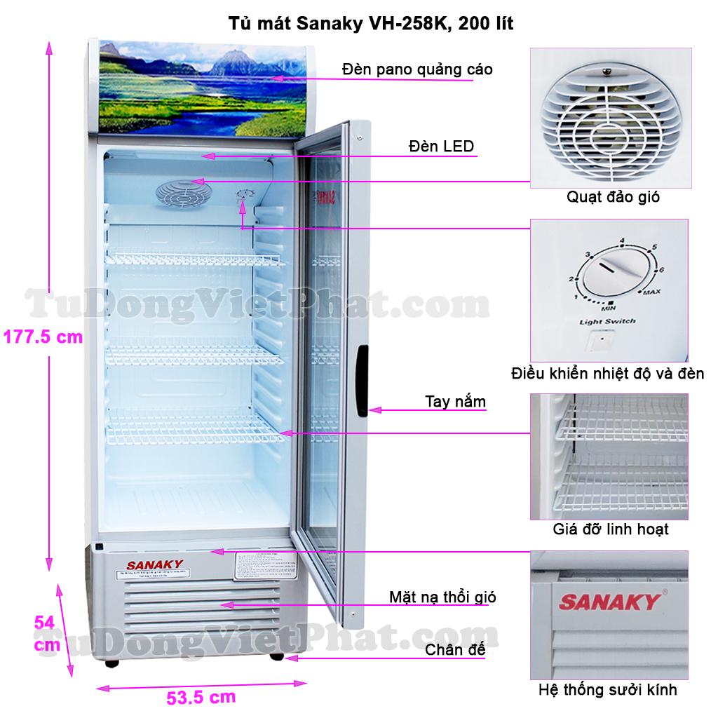 Kích thước tủ mát Sanaky VH-258k