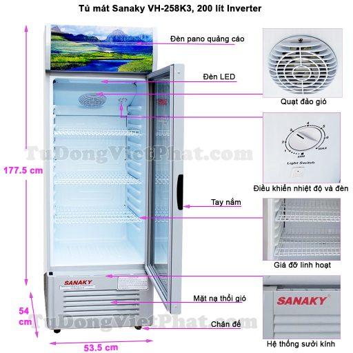 Kích thước tủ mát Sanaky VH-258K3