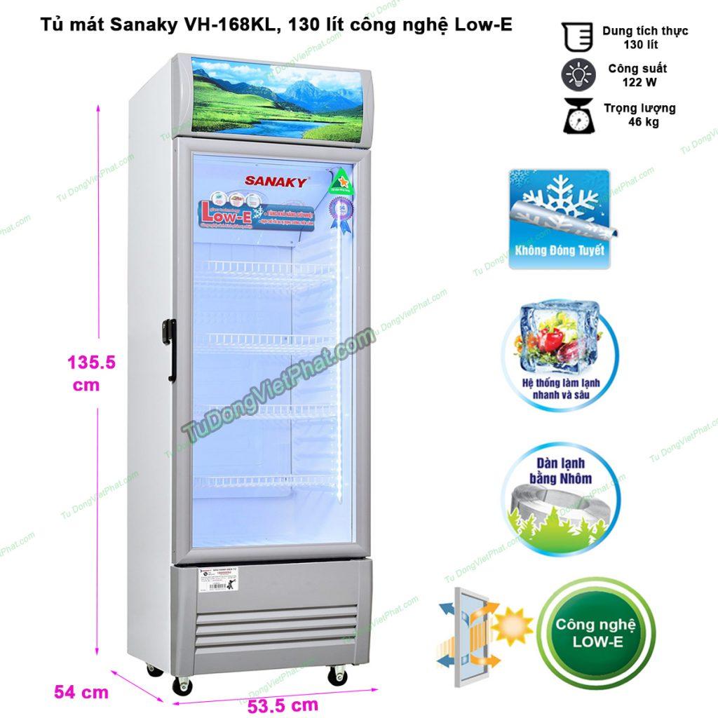 Kích thước tủ mát Sanaky VH-168KL, 130 lít công nghệ Low-E