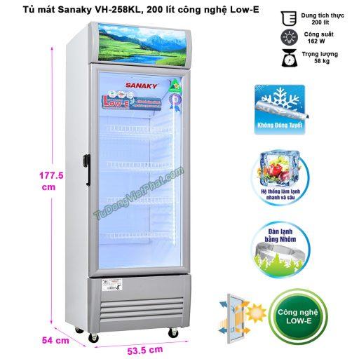Kích thước tủ mát Sanaky VH-258KL, 250 lít công nghệ Low-E