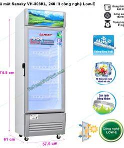 Kích thước tủ mát Sanaky VH-308KL, 300 lít công nghệ Low-E