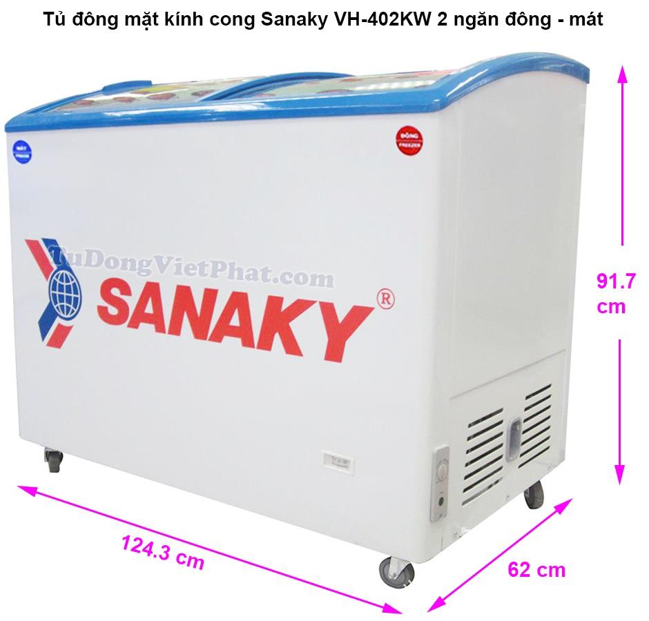 Kích thước tủ đông mặt kính Sanaky VH-402KW