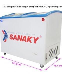 Tủ đông Sanaky VH-602KW, mặt kính 432L 2 ngăn đông mát