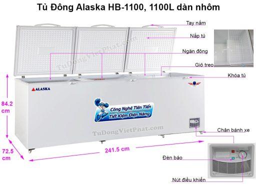 Kích thước tủ đông Alaska HB-1100 1 ngăn đông 3 nắp