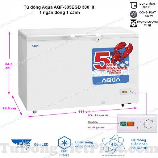 Kích thước tủ đông Aqua AQF-335EGD