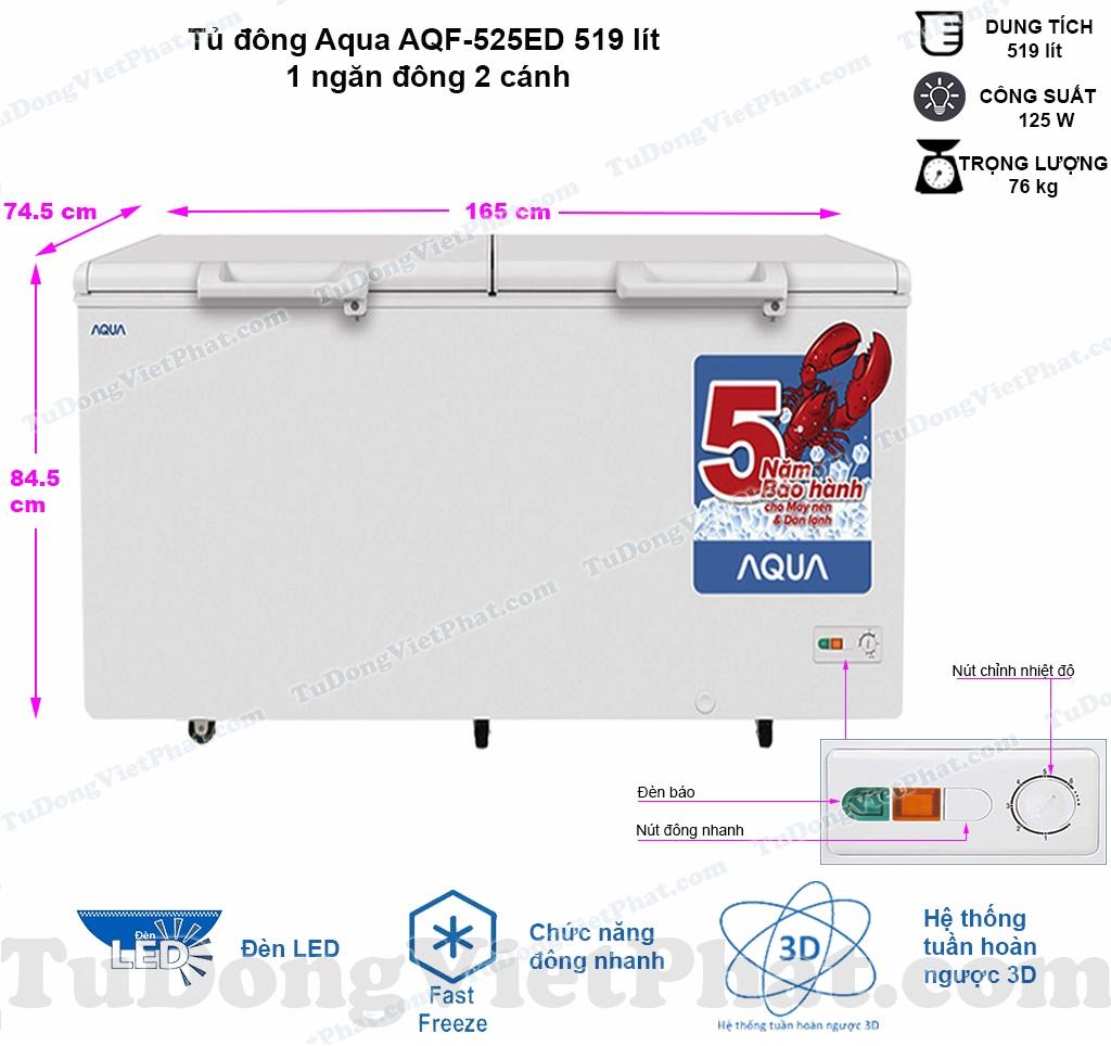 Kích thước tủ đông Aqua AQF-525ED