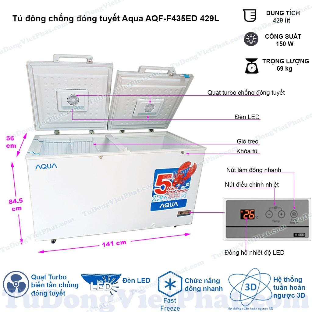 Kích thước tủ đông Aqua AQF-F435ED