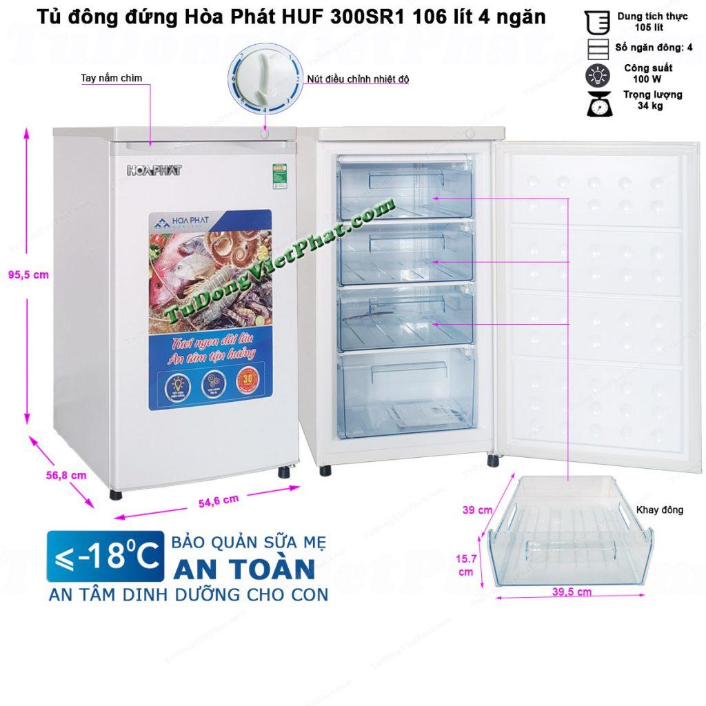 Tủ đông mini dạng đứng Hòa Phát HUF 300SR1 106 lít 4 ngăn