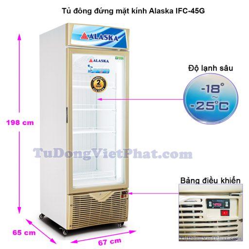 Kích thước tủ đông đứng mặt kính Alaska IFC-45G