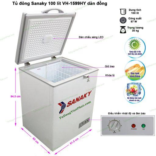 Kích thước tủ đông Sanaky 100 lít VH-1599HY dàn đồng