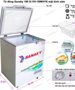 Kích thước tủ đông mini Sanaky 100l VH-1599HYK