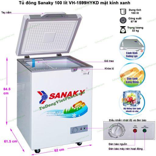 Kích thước tủ đông mini Sanaky 100l VH-1599HYKD