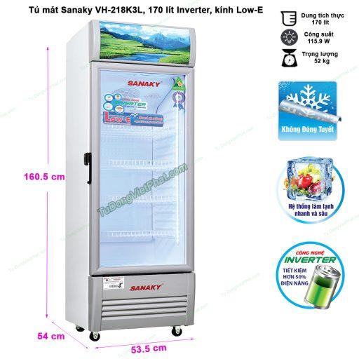 Kích thước tủ mát Sanaky VH-218K3L, 170 lít Inverter công nghệ Low-E