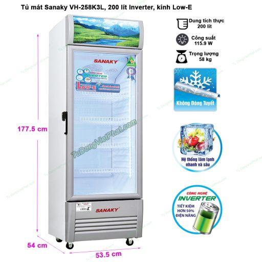 Kích thước tủ mát Sanaky VH-258K3L, 200 lít Inverter công nghệ Low-E