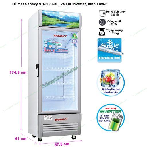 Kích thước tủ mát Sanaky VH-308K3L, 240 lít Inverter công nghệ Low-E