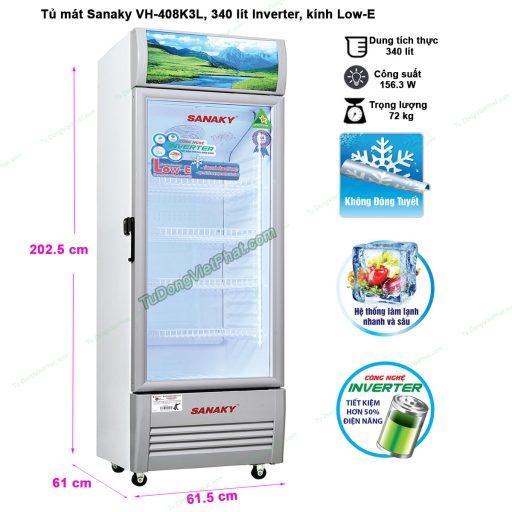 Kích thước tủ mát Sanaky VH-408K3L, 340 lít Inverter công nghệ Low-E