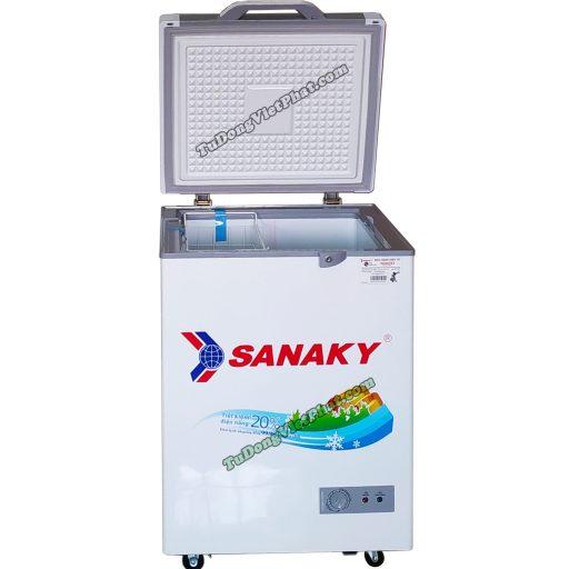 Mặt trước tủ đông Sanaky 100 lít VH-1599HYKD mặt kính xanh