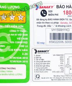 Tem Năng lượng tủ đông Sanaky 100 lít VH-1599HYKD mặt kính xanh