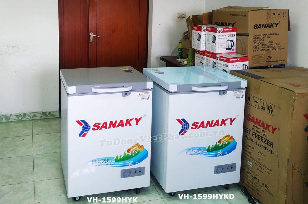 2 model tủ đông Sanaky 100L VH-1599HYK và VH-1599HYKD
