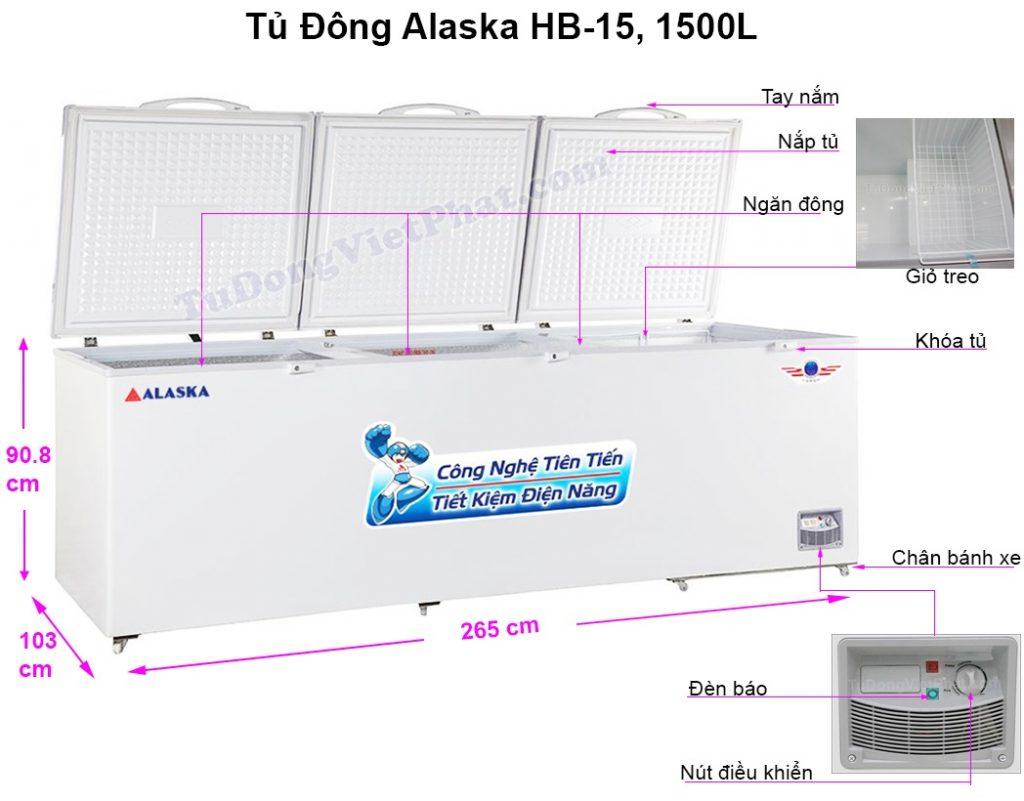 Kích thước tủ đông Alaska HB-15