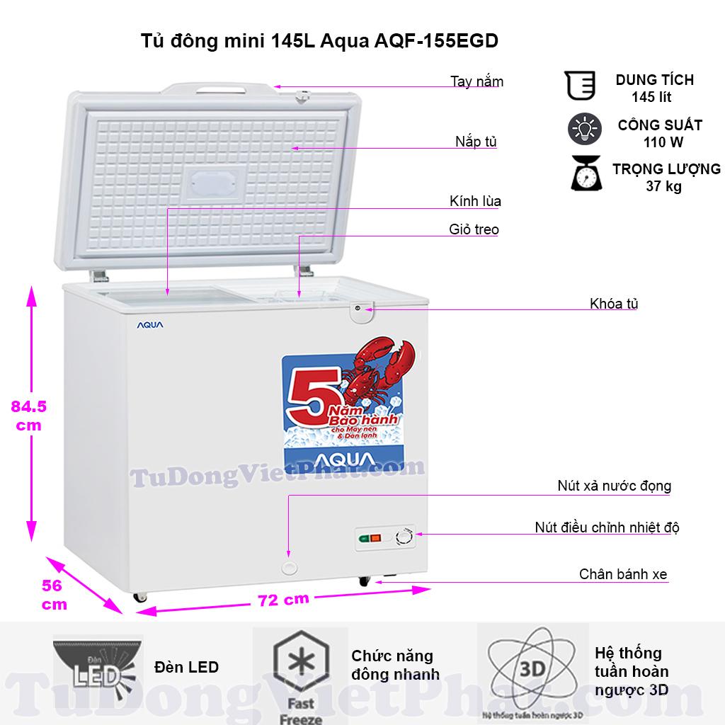 Kích thước tủ đông mini Aqua AQF-155EGD 145 lít