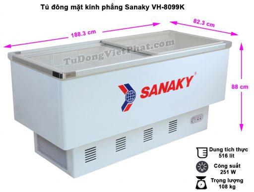 Kích thước tủ đông Sanaky VH-8099K,