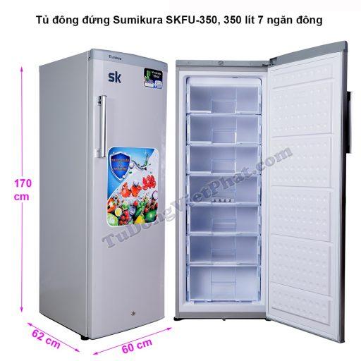 Kích thước tủ đông đứng Sumikura SKFU-350, 350 lít