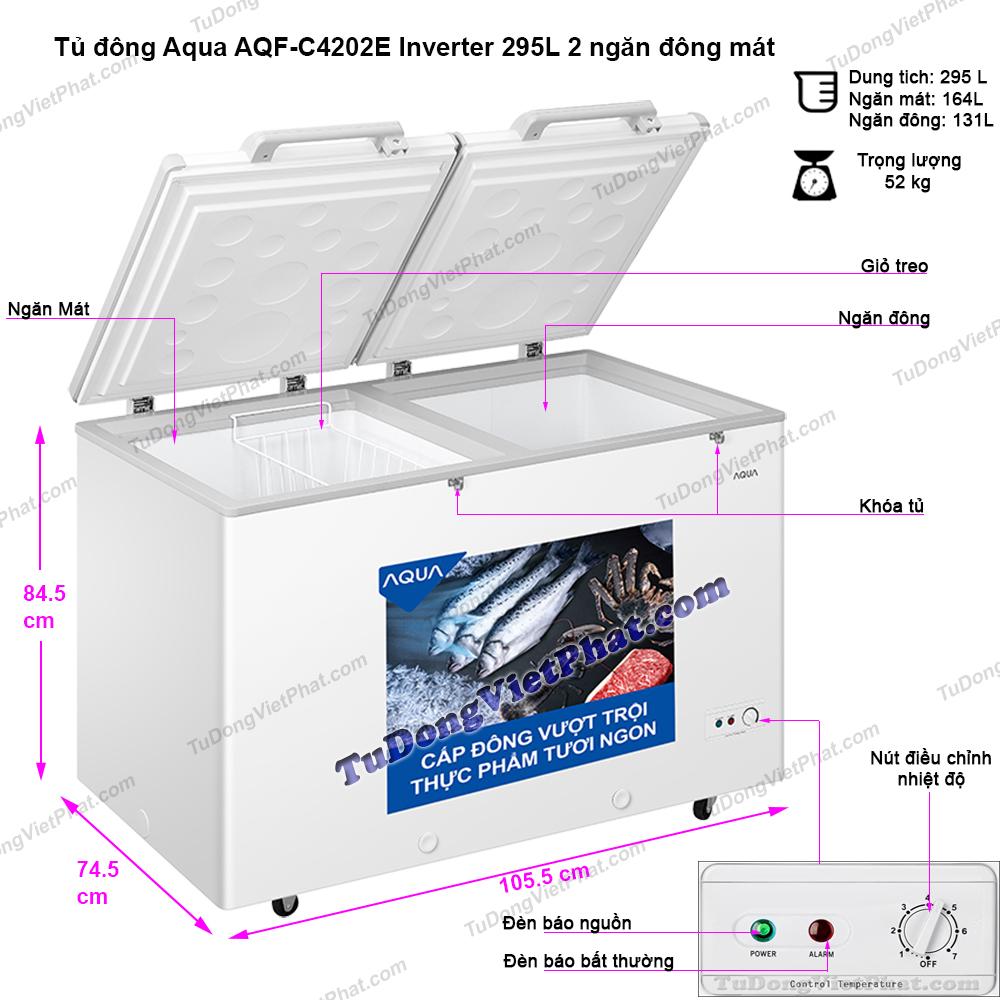 Kích thước tủ đông Aqua AQF-C4202E Inverter 295L 2 ngăn