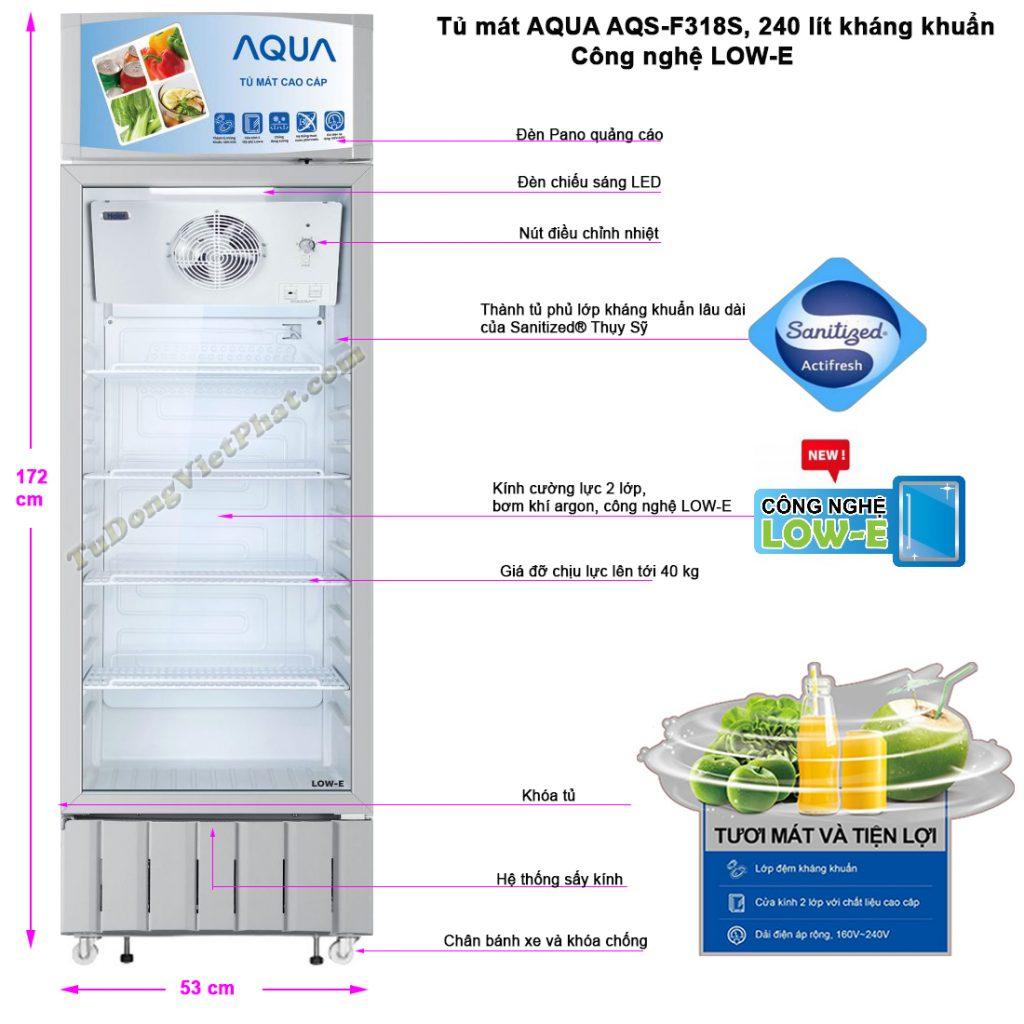 Kích thước tủ mát AQUA AQS-F318S, 240 lít kháng khuẩn LOW-E
